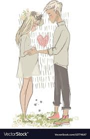 cute cartoon couple with pregnant woman vector image