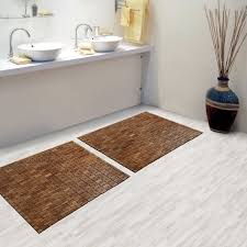 Brown Teak Bath Mat On Cozy Parkay Floor And Bowl Sink Vanity Plus Graff  Faucets For