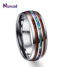 nuncad 8mm hawaiian koa wood and abalone s tungsten carbide rings wedding bands for men fort
