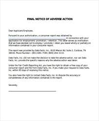 9 Adverse Action Notice Templates Free Sample Example Format