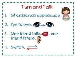 Turn And Talk Anchor Chart Preschool Items Juxtapost