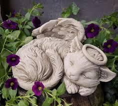 cat angel stoneware garden ornament