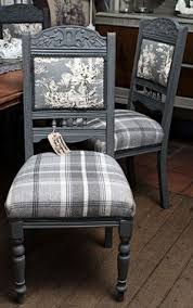 a set of four victorian chairs painted in autentico pigeon grey and reupholstered in balm tartan check fabric and toile a bit queen victoria meets
