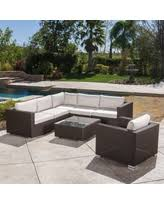 santa rosa outdoor 7 piece wicker seating sectional set with sunbrella cushi by christopher knight home brown with beige size 7 piece sets patio furniture aluminum
