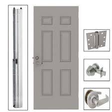 exterior commercial door handles.  Commercial 6Panel Steel Gray Commercial Security Unit With Hardware With Exterior Door Handles