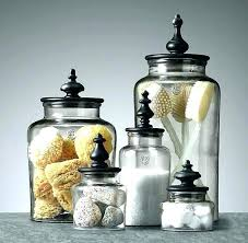 decorative jars for bathroom turned finial glass containers storage with lids