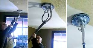 man removes ugly popcorn ceiling in