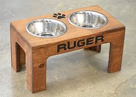 elevated dog feeder and storage box elevated dog bowl rustic dog bowl stand