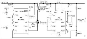 simple circuit charges lead acid batteries application note maxim this lead acid battery charger applies high voltage 15v