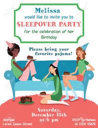 Teenage Girls Birthday Party Invitation Card With Three Pretty