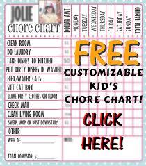 Free Customizable Kids Chore Chart