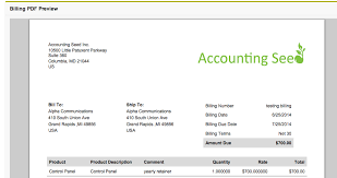 Billing Formats Accounting Seed
