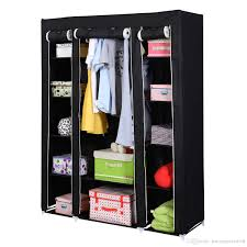 53 portable closet wardrobe clothes rack storage organizer with shelf black new wardrobe with 22 51 piece on jiaozongxiao668 s dhgate com