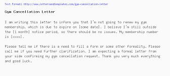 Gym Cancellation Letter