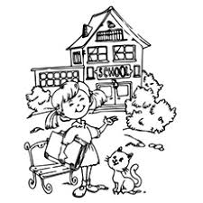 school coloring pages. Simple School After Holidays Girl Going Back To School Coloring Pages Intended P