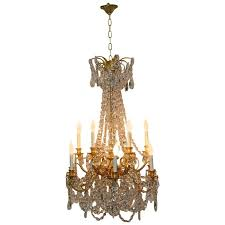 french empire gilded bronze crystal 12 arm chandelier light fixture