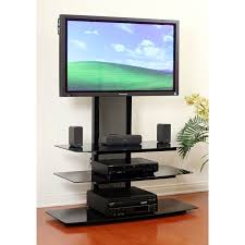 transdeco black glass tv stand with integrated flat panel mount for 32 65 inch screens black td550hb