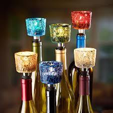 Mosaic tea light holder and wine stopper makes a unique wine bottle  centerpiece