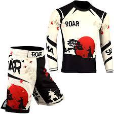 Roar Mma Rash Guard Bjj Grappling Shorts Ufc Cross Training Gear No Gi Gym Wear