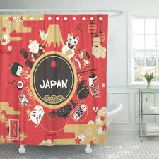 Japanese Shower Design Us 15 79 47 Off Shower Curtain Red Japanese Japan Tourism Design Festival Words On The Fan Country Name Lower Left Cat Bathroom In Shower Curtains