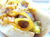 bratwursts with caramelized onions   creamy horseradish
