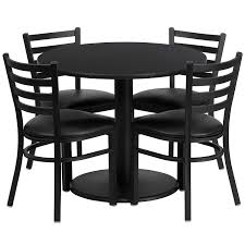 flash furniture with round black laminate table set plus 4 restaurant chairs with ladder back metal chairs
