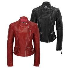 las women soft real leather biker jacket size uk 8 10 12 14 16 18 20 22 24