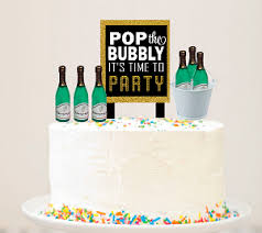Alcohol Lovers Wine Bottle Sip Sip Hooray Cake Decoration Topper Kit