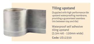 tiling upstand waterproofing tape to provide a water tight seal around the edge of the impey