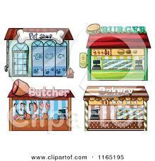 Cartoon Of Building Facade Store Fronts 9 Royalty Free Vector