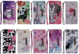 leather wallet case for lg k8 2018 v30 sony xperia xz2 compact premium eiffel tower elephant wolf panda flower cartoon flip cover cute strap mobile phone
