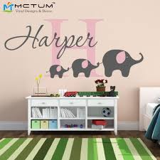 elephant wall decal custom name removable nursery wall decals vinyl wall stickers for baby kids room decoration free