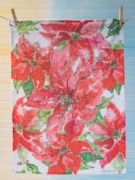 Poinsettia Designs Poinsettia Tea Towel