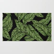 green black tropical leaves pattern rug