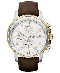 clearance closeout fossil watches macy s fossil men s chronograph dean brown leather strap watch 45mm fs4788