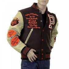 sugar cane mens brown melton wool regular fit stadium flying alligators letterman jacket with long dark
