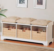 Furniture Delightful 3 Seat Bench Cushion With White Storage