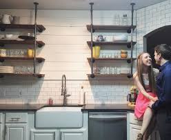 Industrial Looking Kitchen Kitchen Remodel Shiplap Walls Industrial Shelving Farm Sink