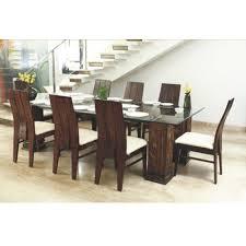 Glass top dining tables Rectangular Glass Top Wooden Dining Table Indiamart Glass Top Wooden Dining Table At Rs 60000 set Wooden Dining Table