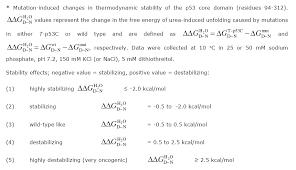 p53 thermodynamic stability
