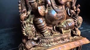 wooden ganesh statue with gaja lakshmi lotussculpture com