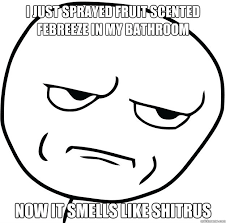 i just sprayed fruit scented febreeze in my bathroom now it smells ... via Relatably.com