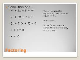 5 factoring solve