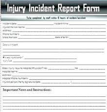 Injury Form Template Sports Injury Incident Report Form Template