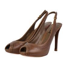 louis vuitton leather p toe slingback pumps brown