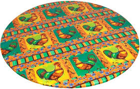carnation home fashions rooster round fitted vinyl tablecloth red 48 p 48 red dfln f48rd ro