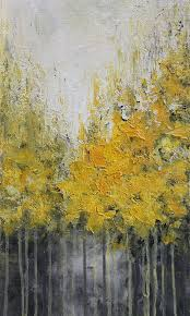 yellow abstract acrylic painting done with palette knife on canvas title autumn size 12
