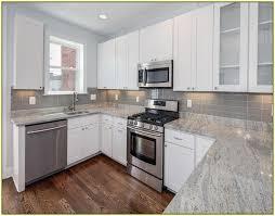 granite kitchen countertops with white cabinets. Uncategorized, Gray Granite Countertops With White Cabinets And Grey Subway Tiles Tile Backsplash: Kitchen E
