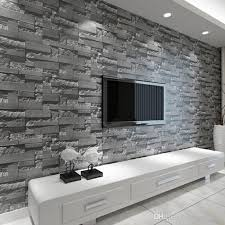 modern stacked brick 3d stone wallpaper