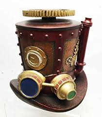 <b>steampunk</b> mining machinery hat jewelry box resin <b>antique vintage</b>